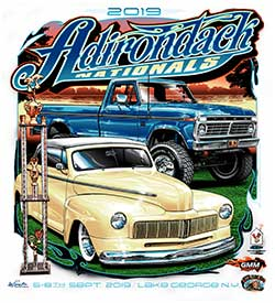 Adirondack Nationals 2019 shirt logo has the 2018 car show senior winners on it