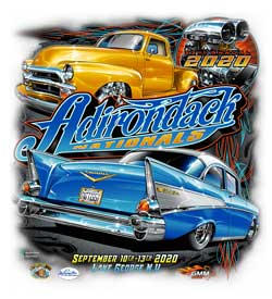 Adirondack Nationals 2020 shirt logo has the 2019 car show senior winners on it